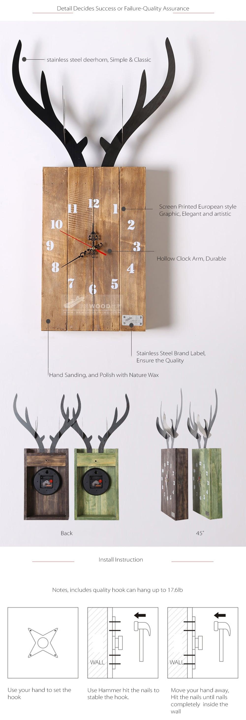 Bewood Deer Wall Clock Made From Natral Wood