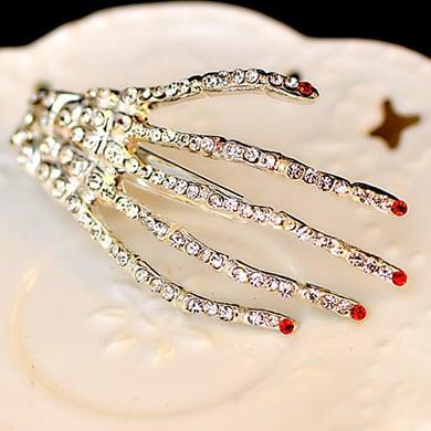 Crystal Skeleton Hand Hair Clips (Set of 2)