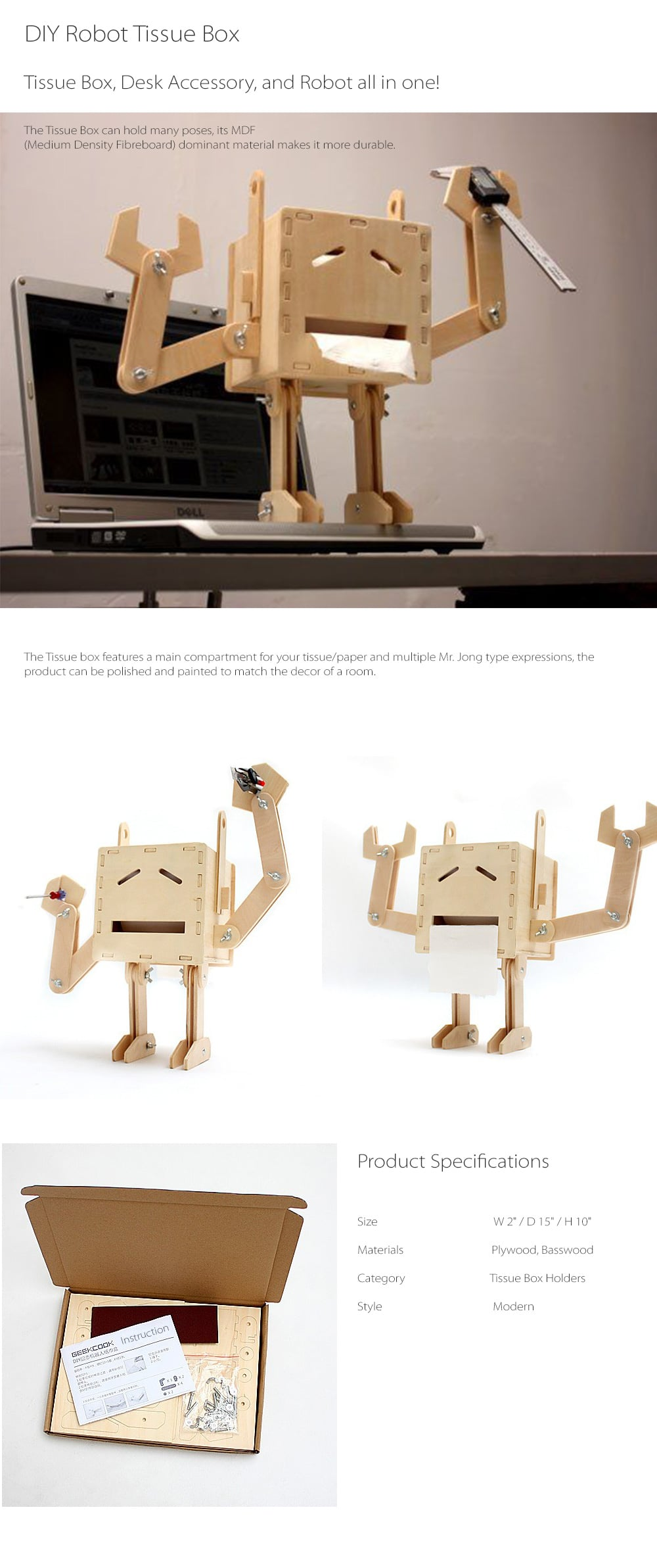 DIY Robot Tissue Box Tissue Box, Desk Accessory, And Robot