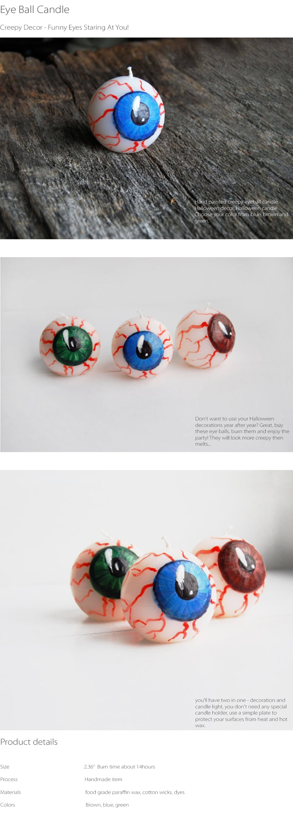 Creepy Eye Ball Candle Funny Eyes Staring At You