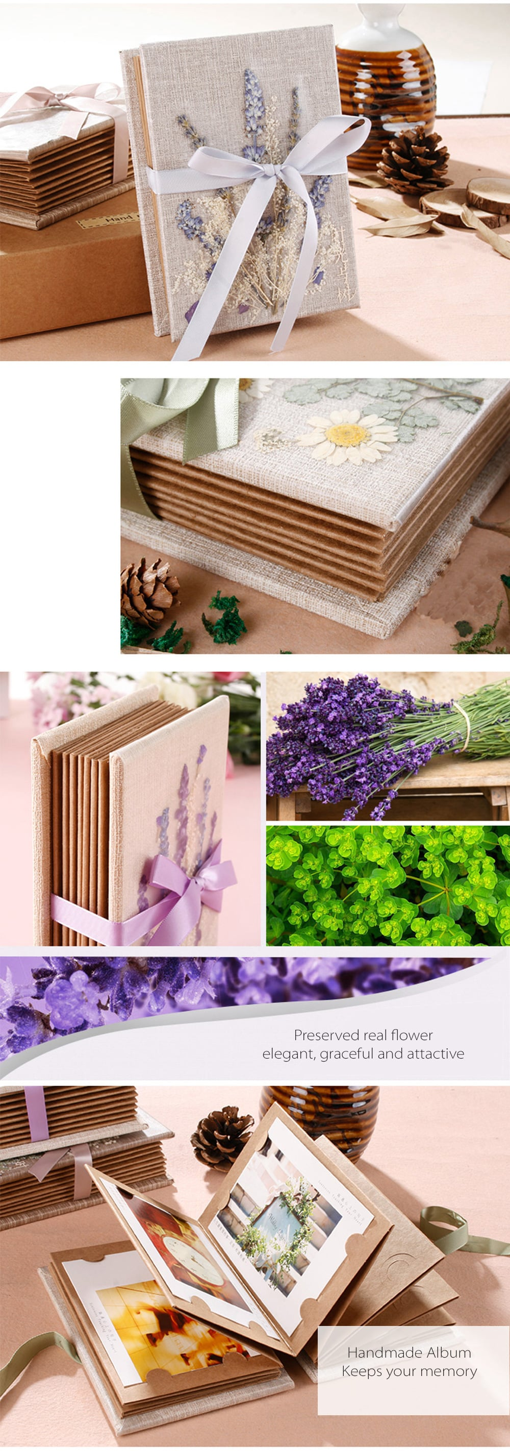 Preserved Flower Accordion Fold Photo Album Keep Your Memory With These Flowers