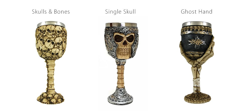 Skeletal Skull Wine Gobelt Stainless Steel ossuary for your wines