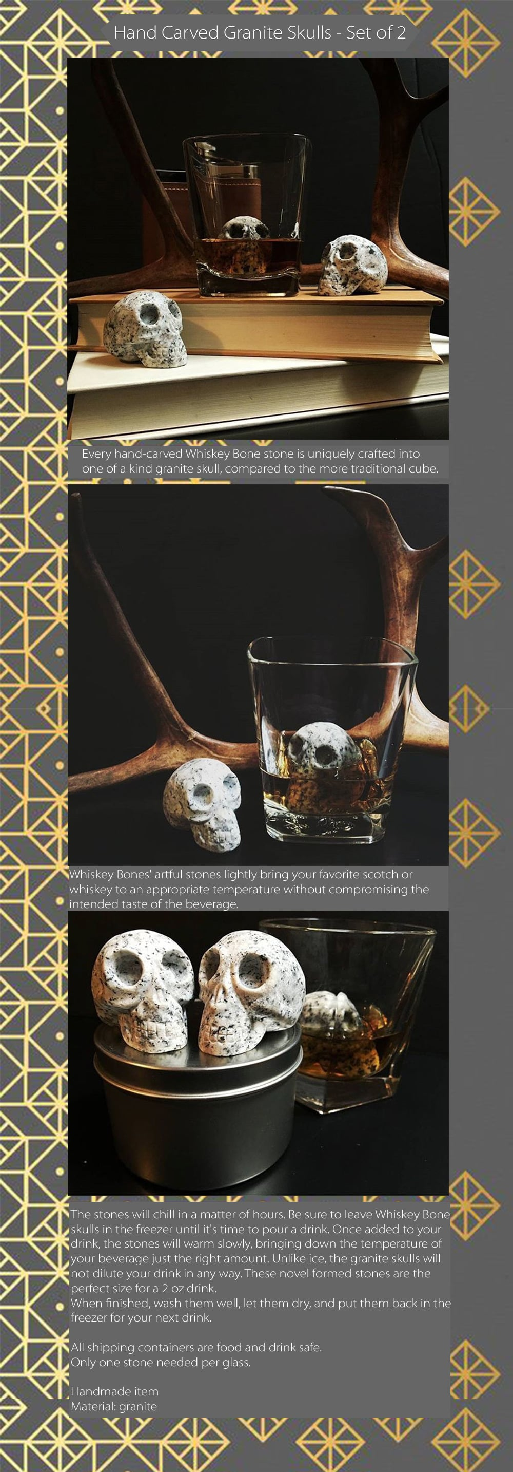 WHISKEY BONES Hand Carved Whiskey Stones - Set of 2 Enjoy Your Whiskey With Our Skulls