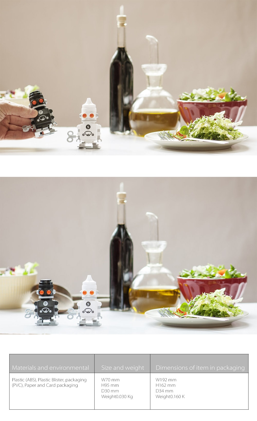 Salt & Pepper Bots Mini Terminators On The Table