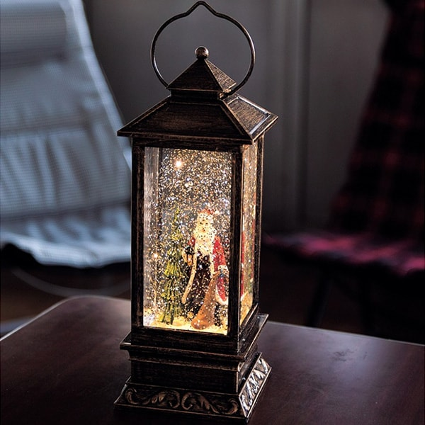 product image for LED Lantern Tall With Santa Snow Globe