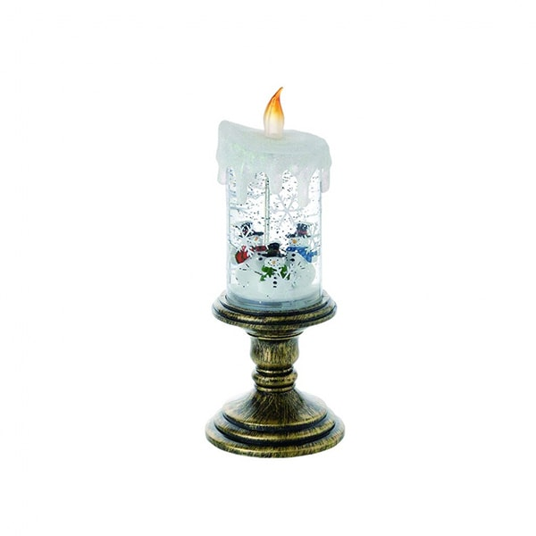 LED Candle With Snowman Snow Globe