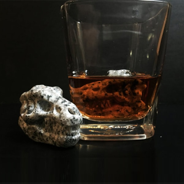 Whiskey Bones Hand Carved Granite T-Rex Skulls (Set of 2)