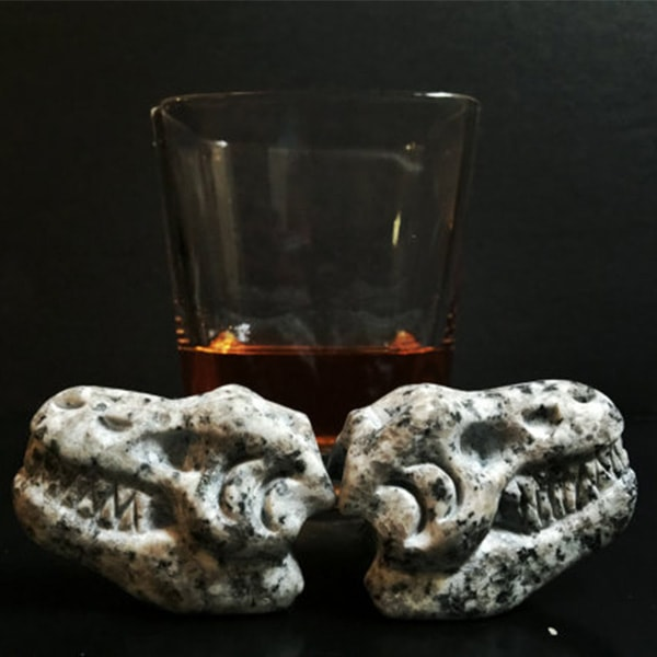 product thumbnail image for Whiskey Bones Hand Carved Granite T-Rex Skulls (Set of 2)