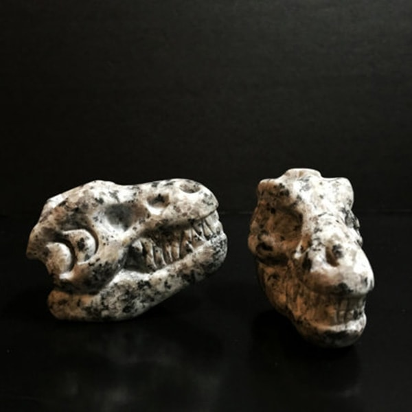 product image for Whiskey Bones Hand Carved Granite T-Rex Skulls (Set of 2)
