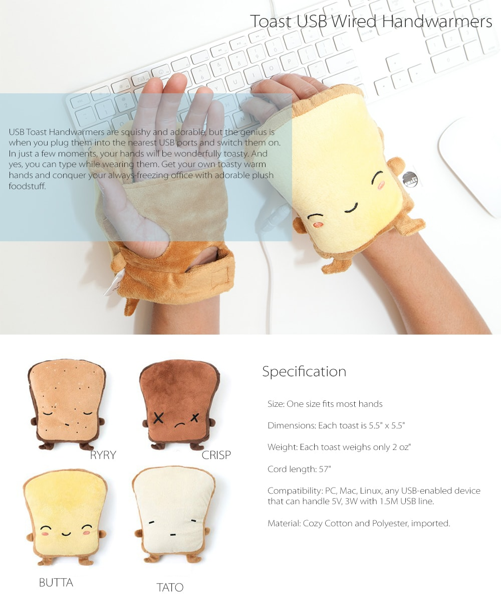 USB Toast Handwarmers Squishy And Adorable