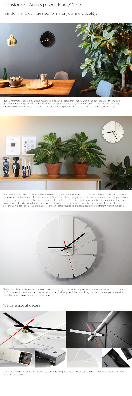 Transformer Analog Clock Black/White Silver A Design Winner