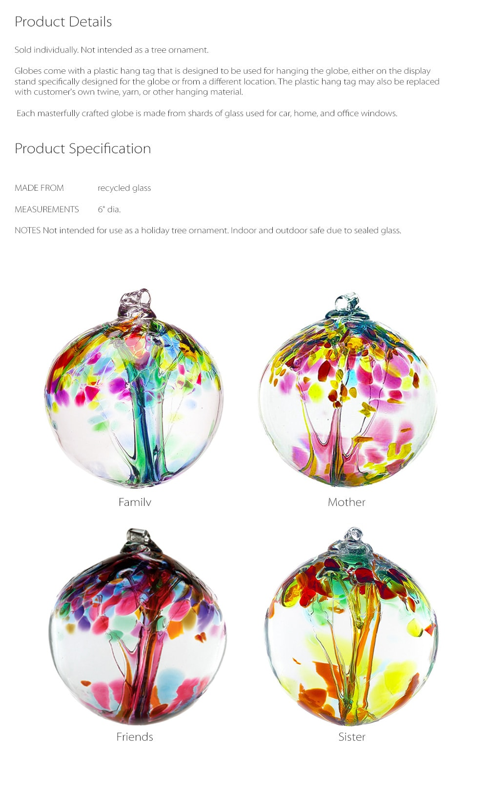Recycled Glass Tree Globes - Relationships Celebrate Your Bonds With Family And Friends