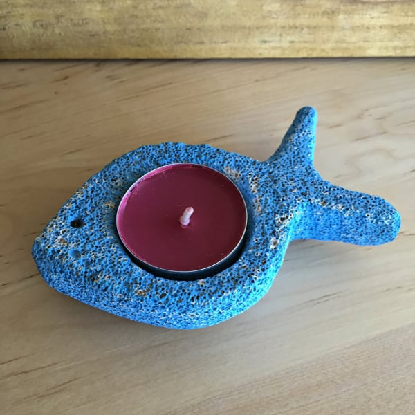 Blue Fish Tea Light Holder