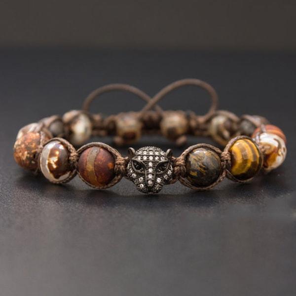 Tigers Eye Shamballa Beaded Bracelet