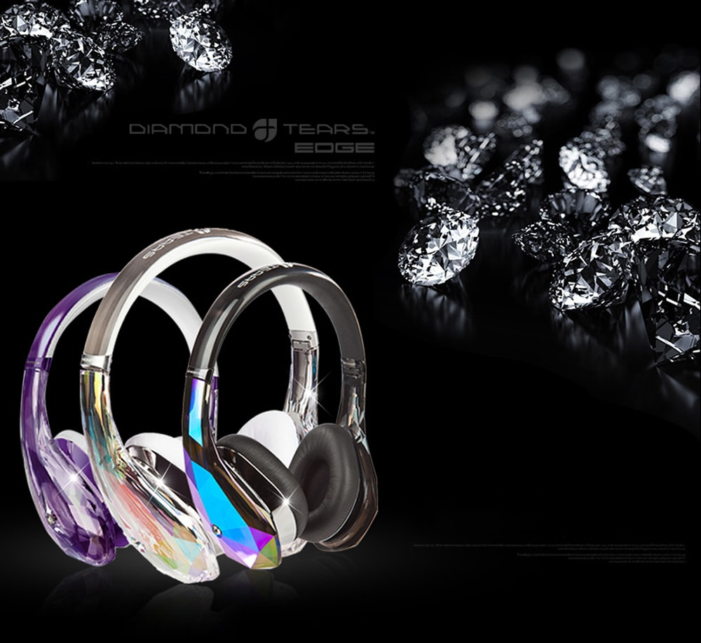 Diamond Tears On-Ear Headphones (Rose Gold) A Crystal Earphone