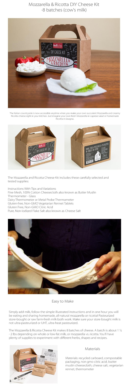 Mozzarella & Ricotta DIY Cheese Kit- 8 batches (cow's milk) Make Your Own