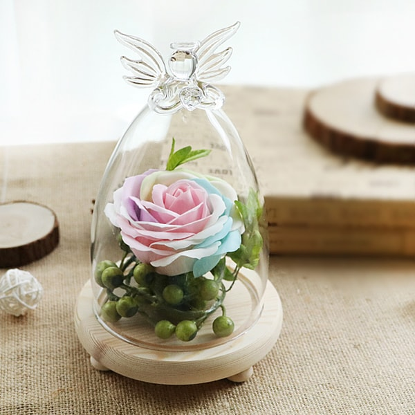 Glass Cloche Dome Bell Jar with Rose