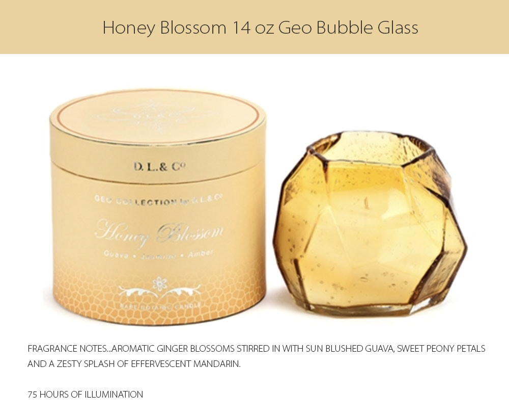 14 oz Geo Bubble Glass Candles 75 HOURS OF ILLUMINATION