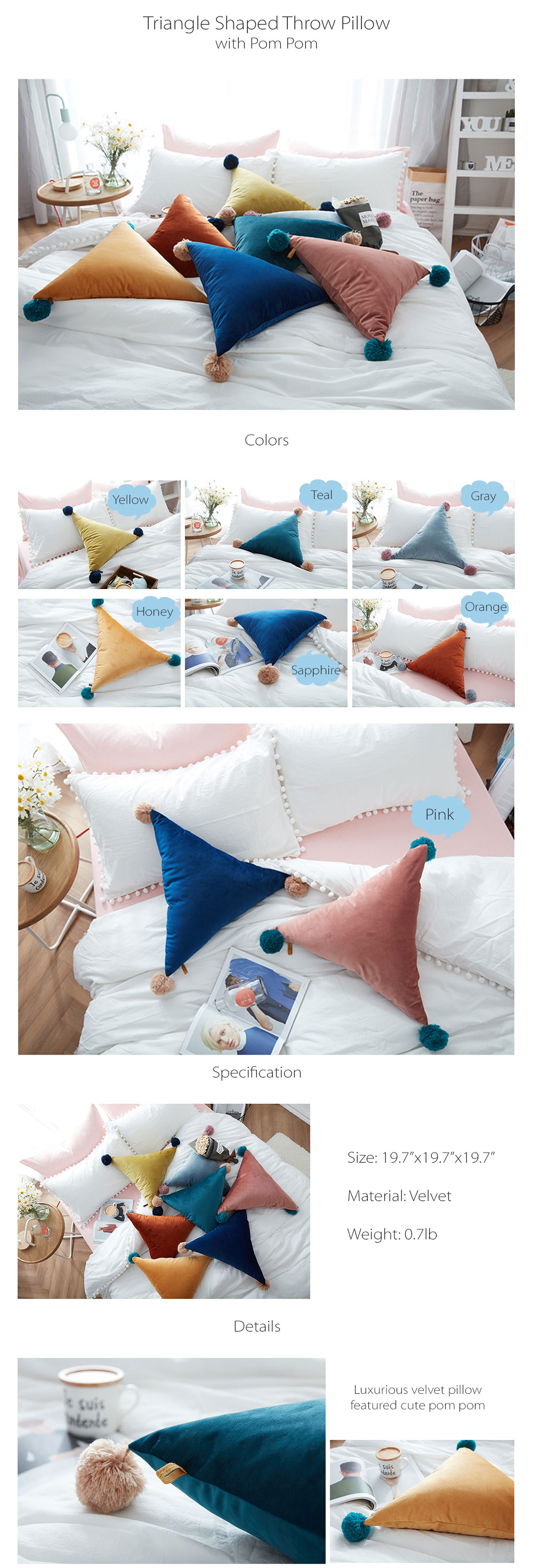 Triangle Shaped Throw Pillow Pretty and Comfortable