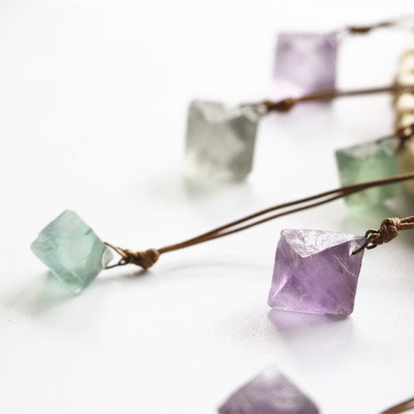 Fluorite Raw Crystal Necklace