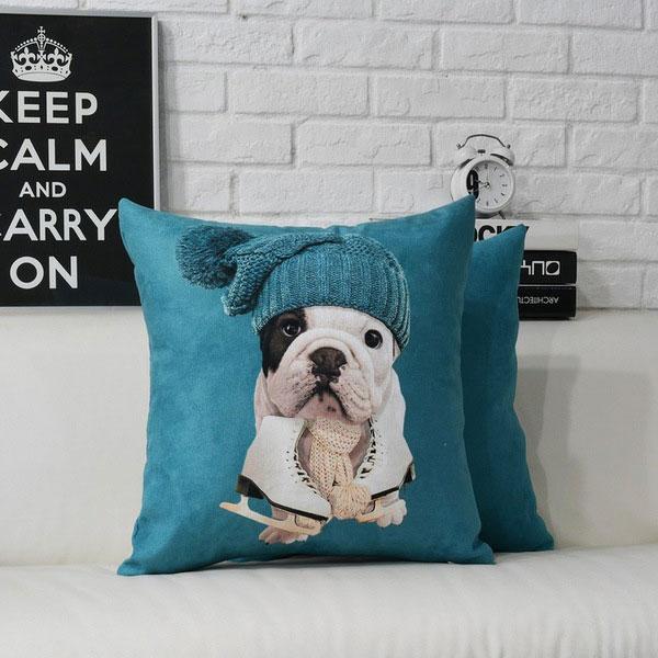Skate Bulldog Puppy Pillow Case