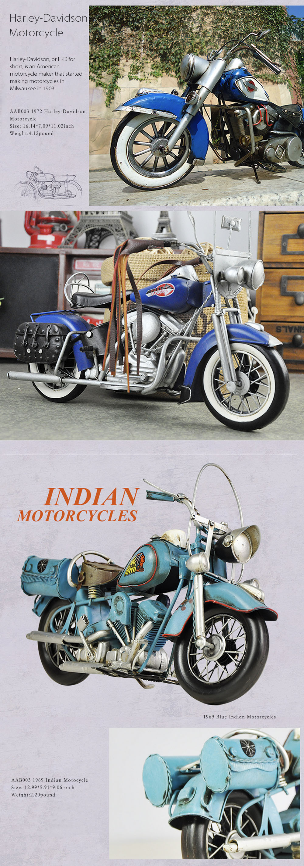 Retro Style Motorcycle Miniature For Motorcycle Funs