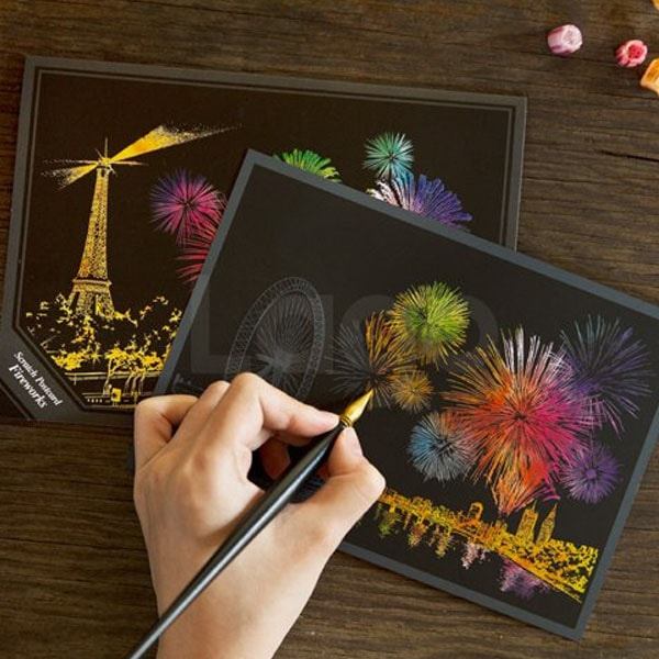 Scratch Postcard Fireworks (Set of 4)