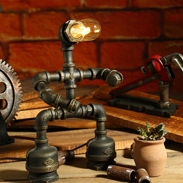 Rustic Robot Industrial Pipe Lamp