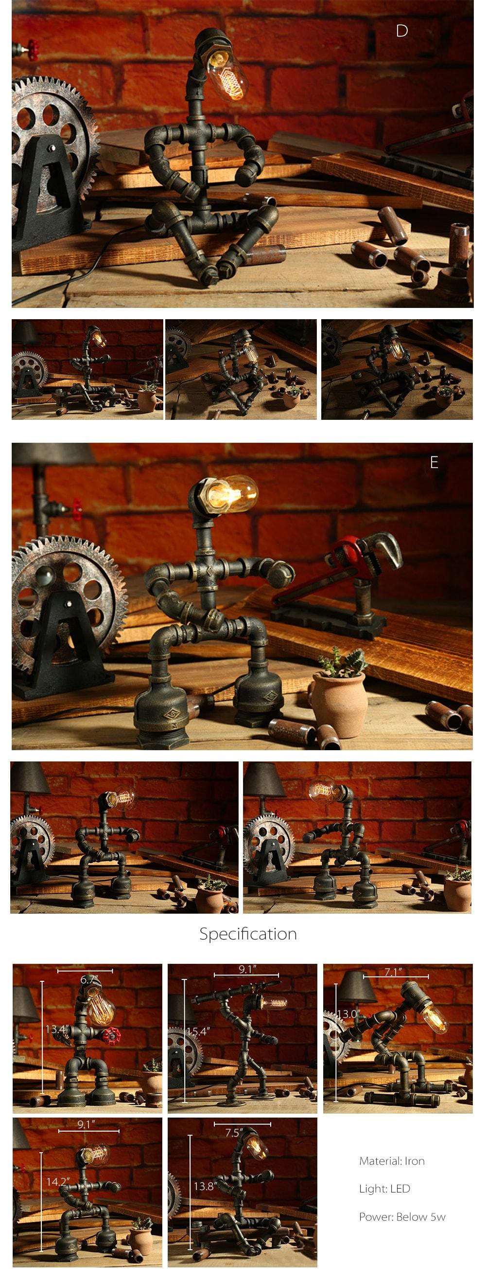 Rustic Pipe Lamp Little Robot Shape