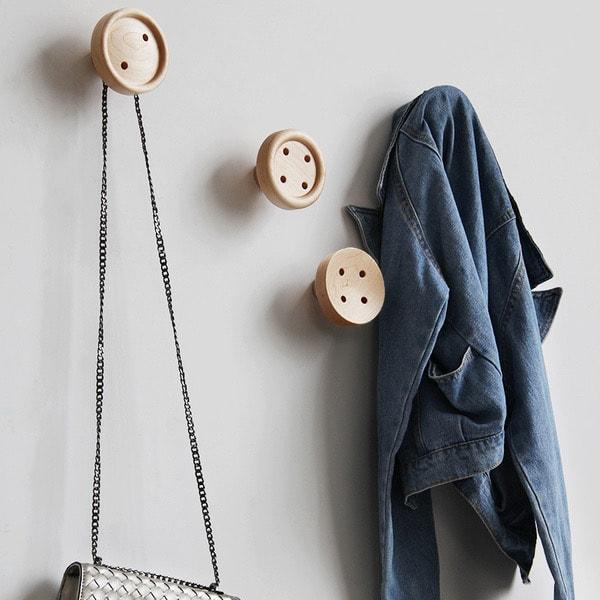 Wooden Button Wall Hooks