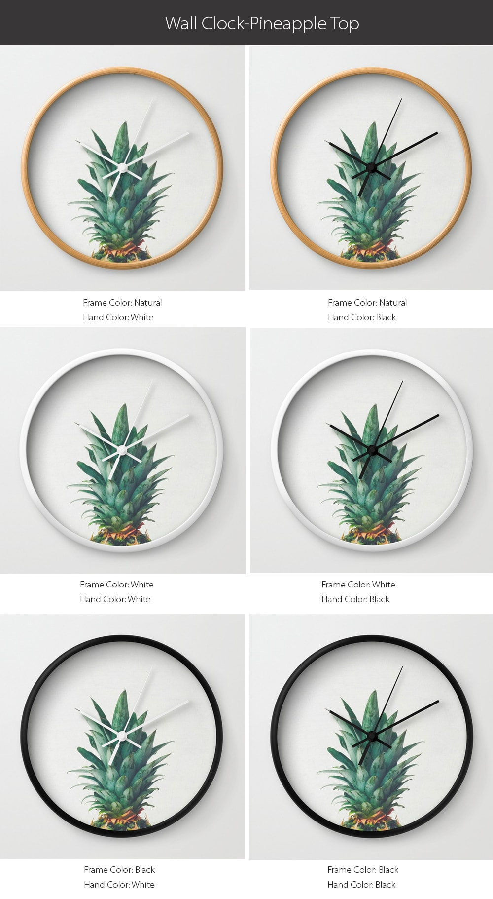 Wall Clock - Pineapple Top Design Special