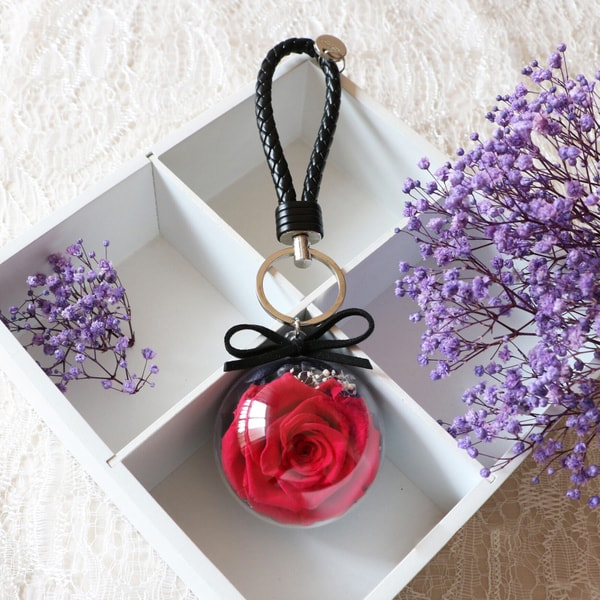 Preserved Flower Key Chain