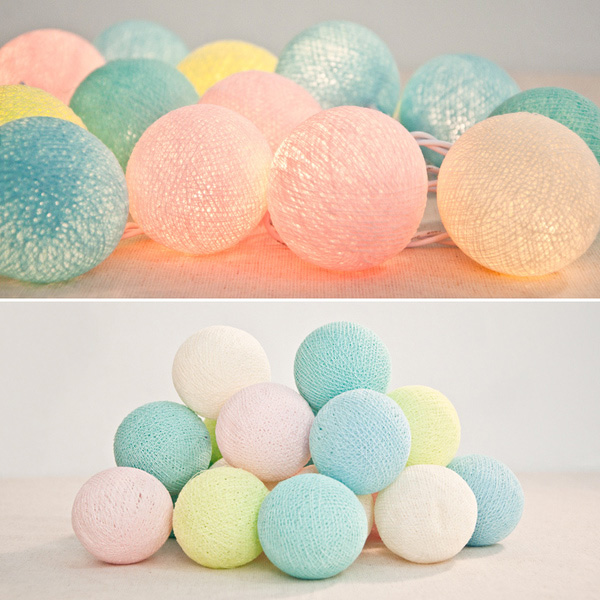 Mix Color Cotton Ball String Lights