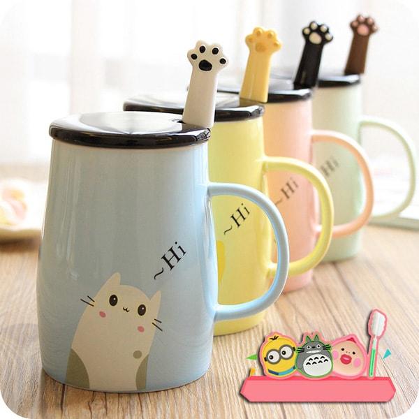 Ceramic Coffee Mug and Spoon Set
