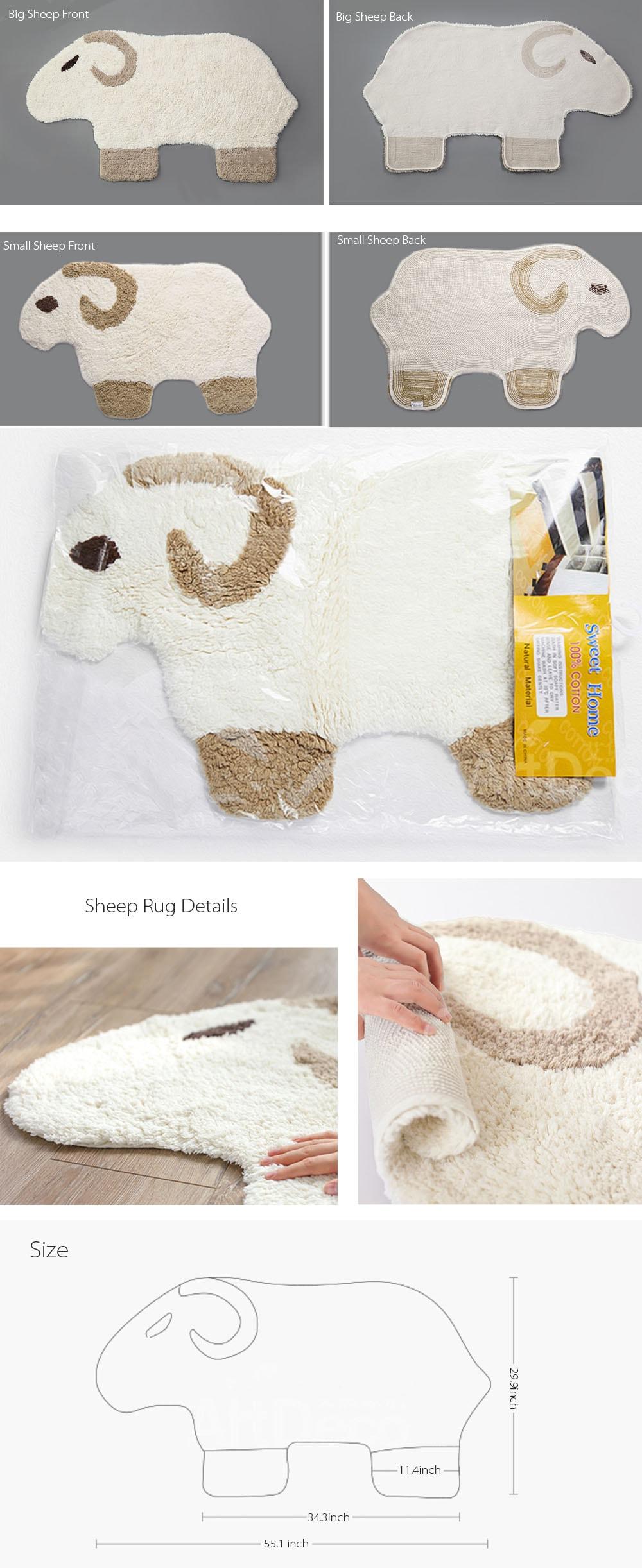 Sheep Shaped Rug Made of Cotton