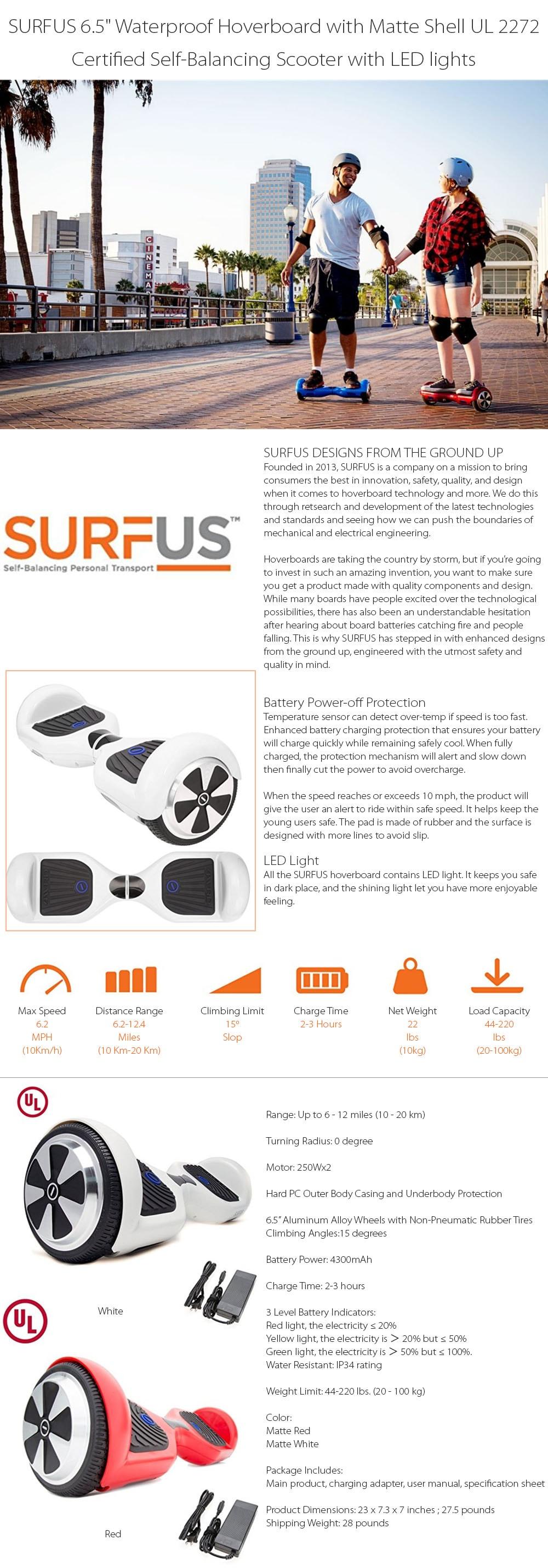 SURFUS Waterproof Hoverboard  Enjoy Your Ride