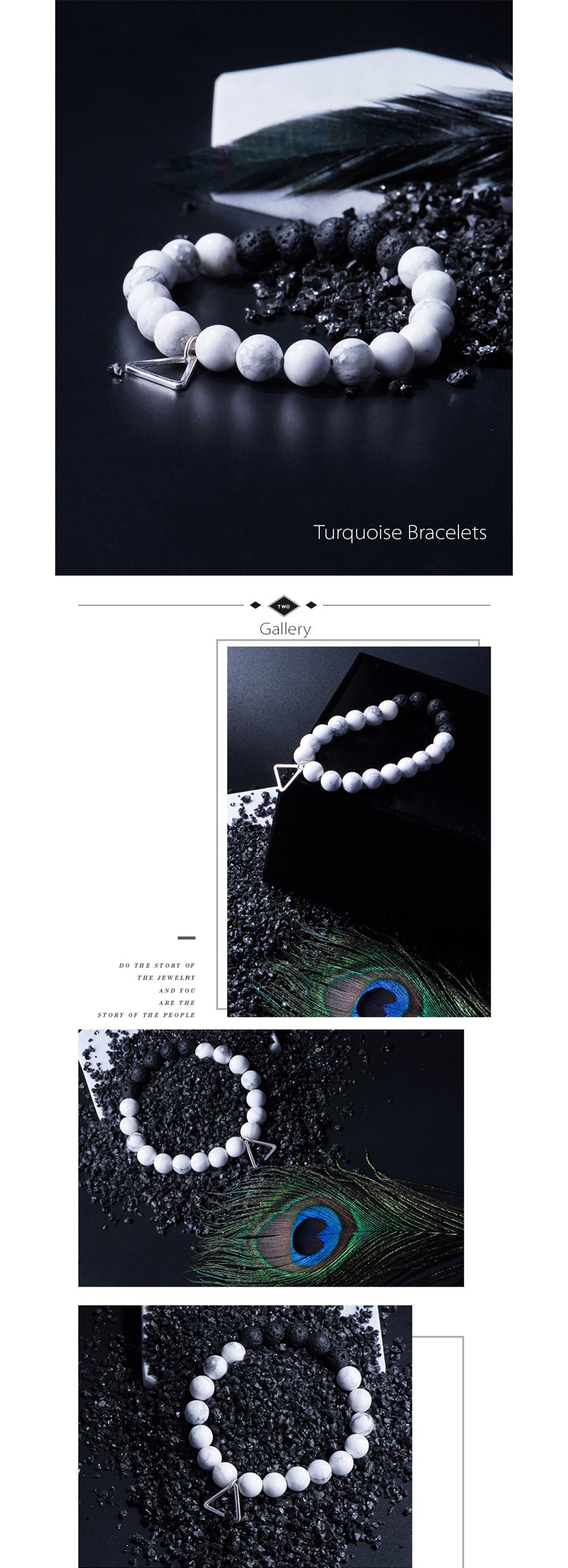White Turquoise Bracelet With Lava Stones
