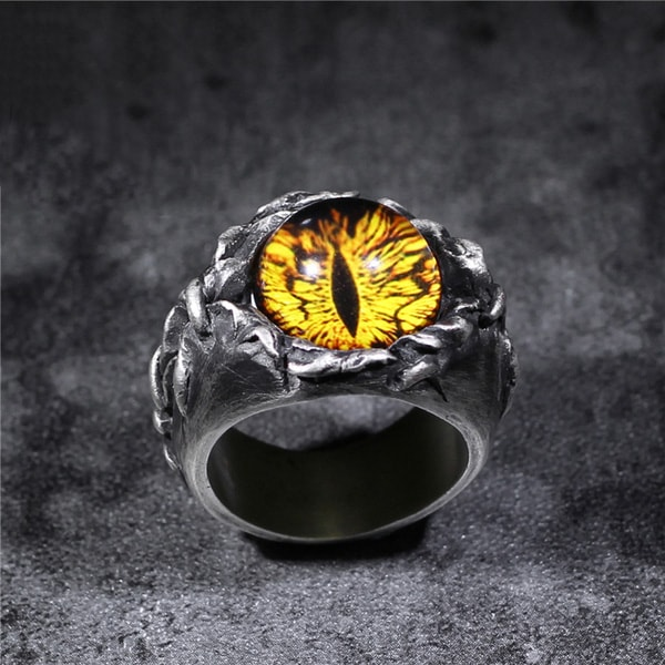 Goth Style Silver Cat's Eye Ring