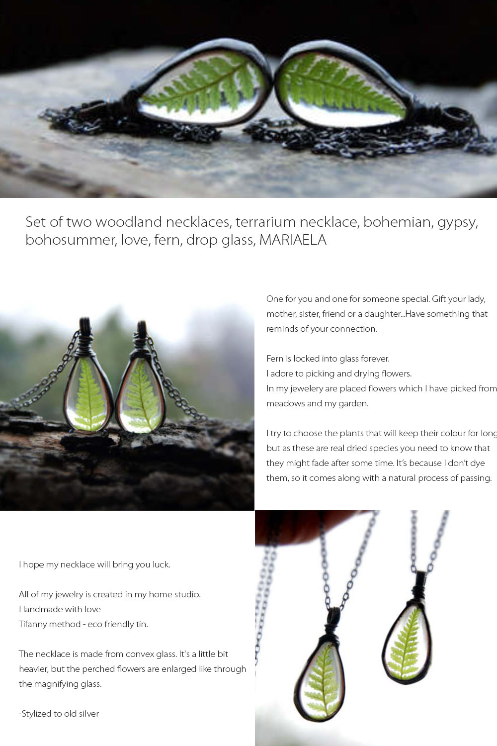 Woodland Fern Necklace Set of Two Handmade with love