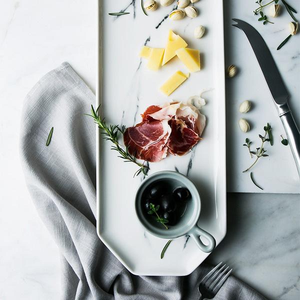 Marble Pattern Ceramic Dinner Plate