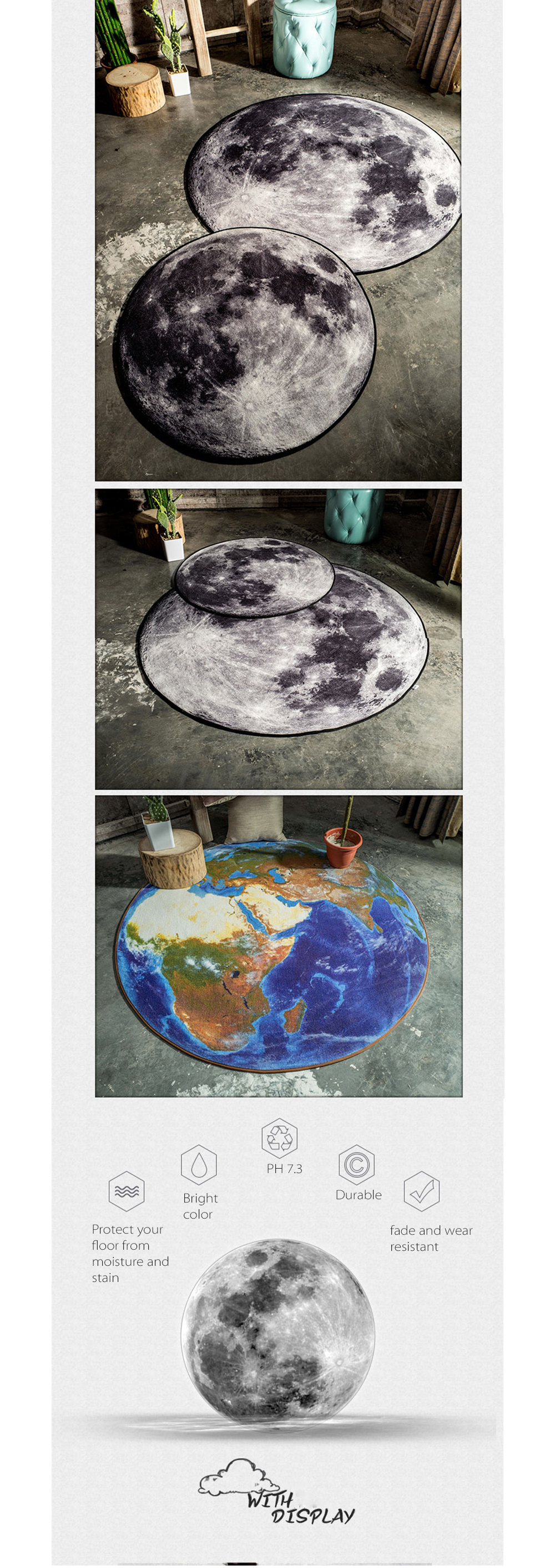 Moon Earth Area Rug No More Ordinary Rugs