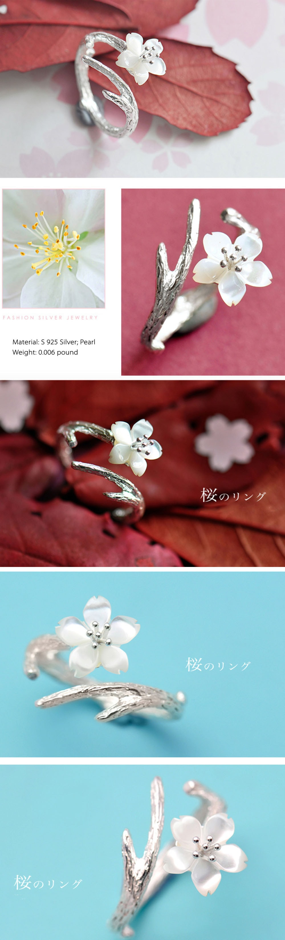 White Cherry Blossom Silver Ring Fashion Design
