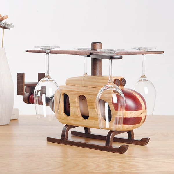 product image for Helicopter Wine Glass Bottle Rack