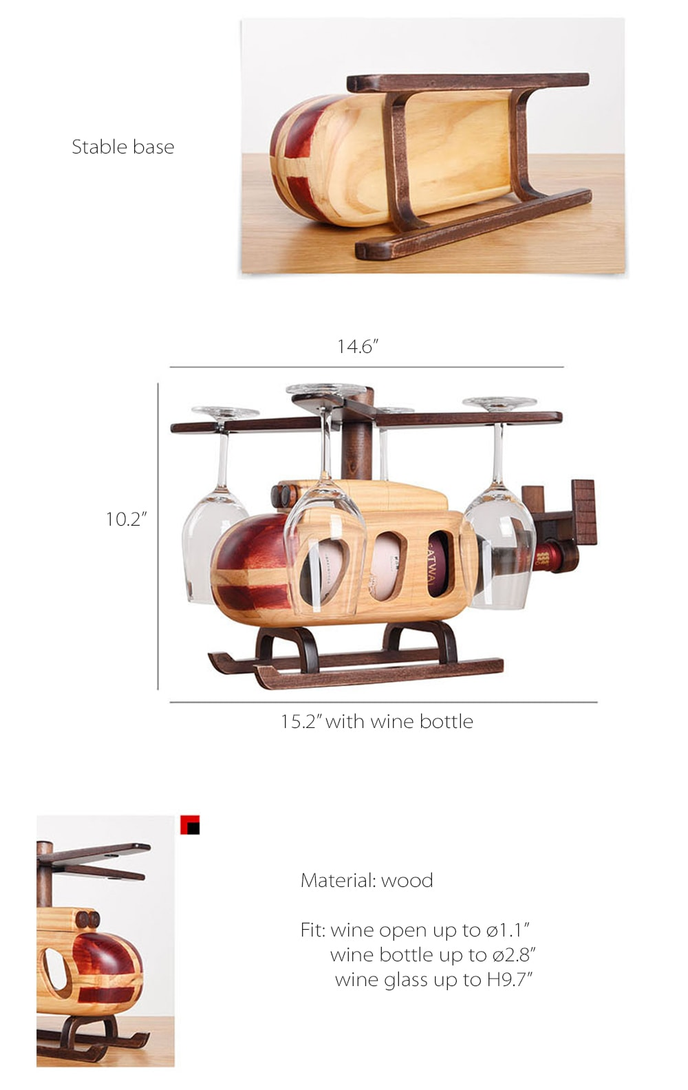 Helicopter Wine Glass Bottle Rack Vintage Style