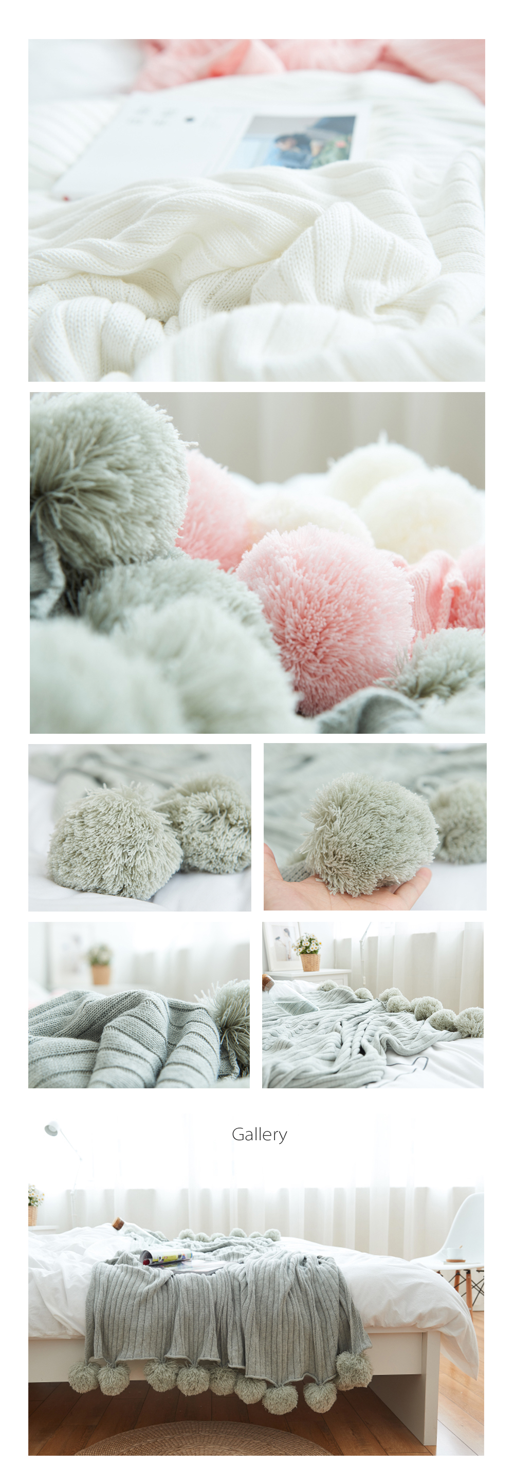Pom Pom Throw Blanket Made of Cotton