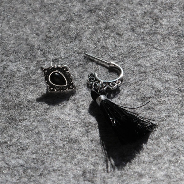 Asymmetric Black Earrings