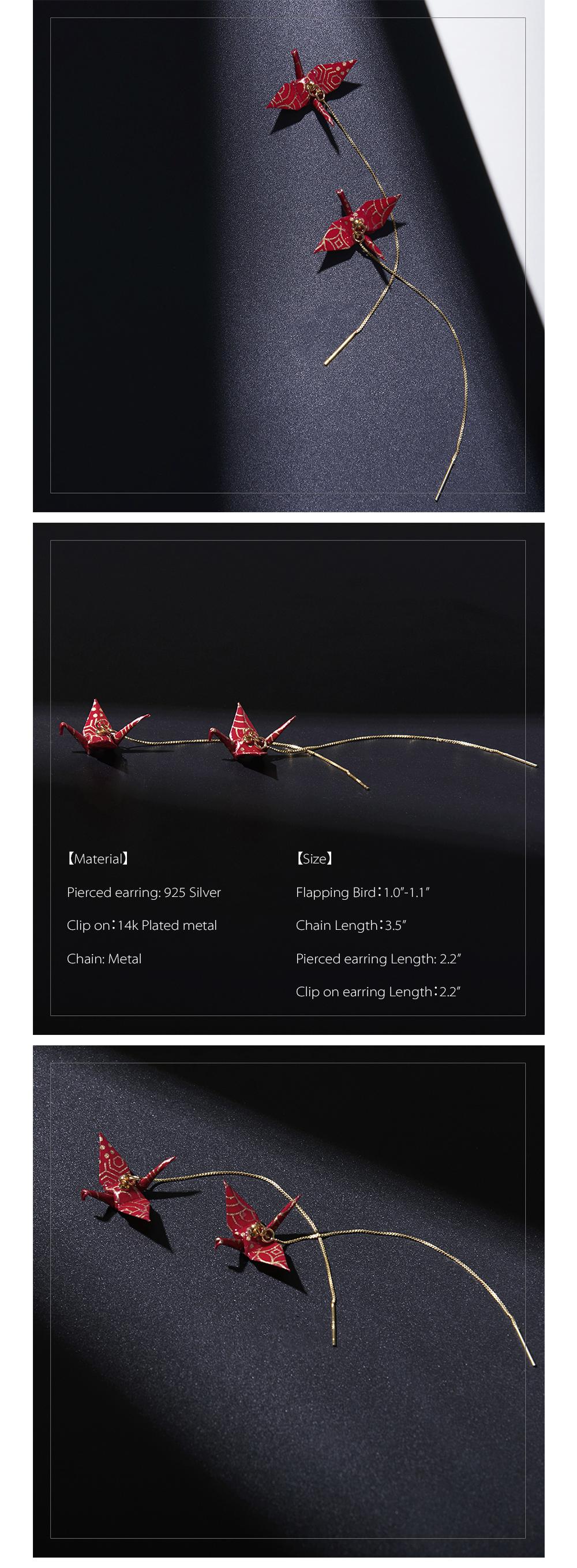Origami Crane Earring Handmade