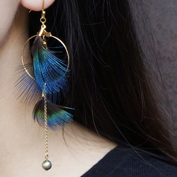 product image for Peacock Feathers Hoop & Pearl Earring