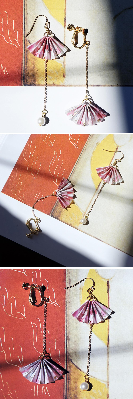 Sakura Fan Earring-Single Yuzen Paper