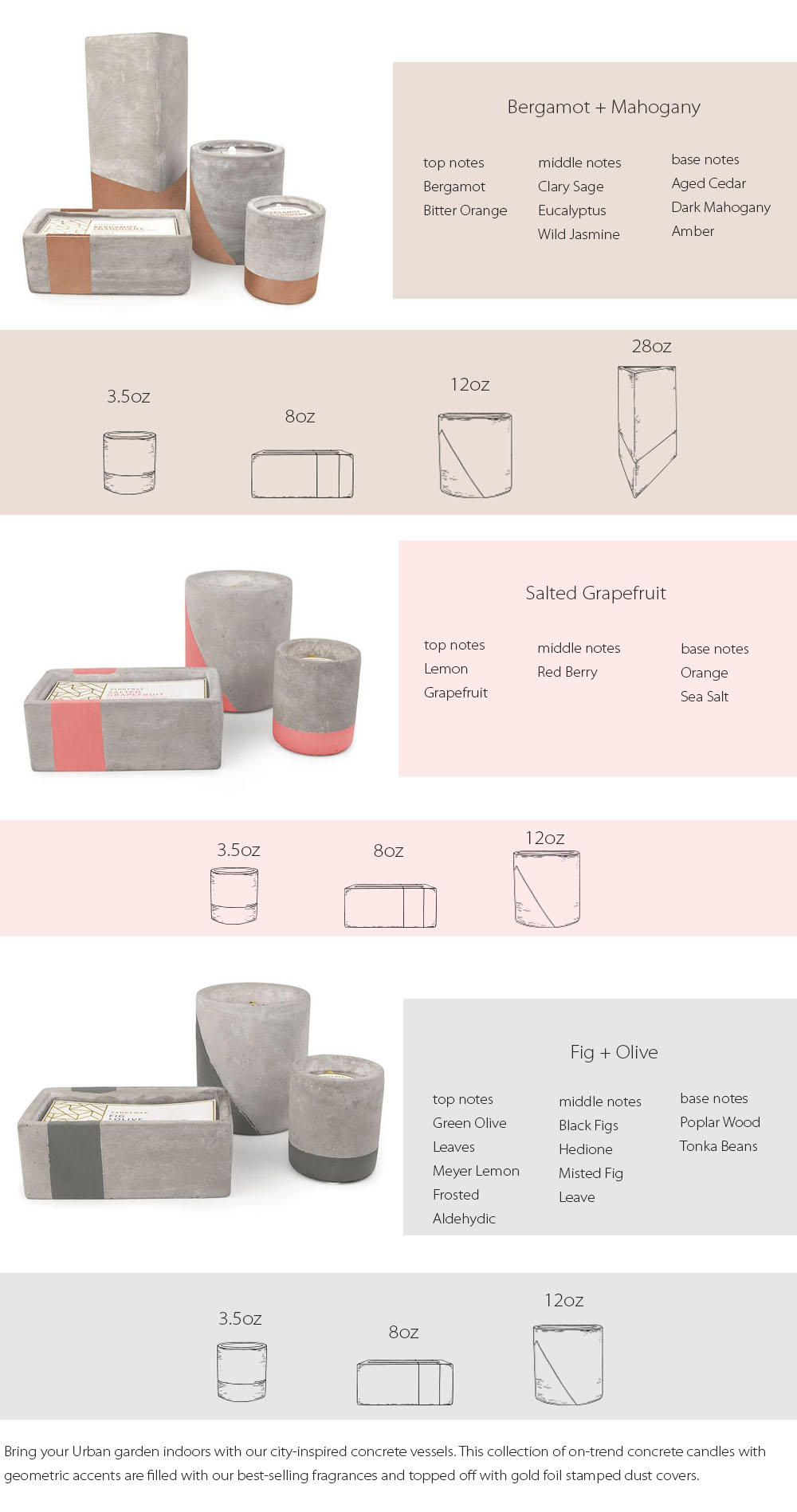 Urban Candle Collection On-trend Concrete Candles